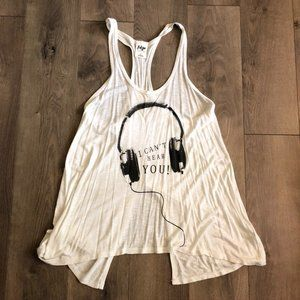 I can't hear you headphone tank top Size: Small